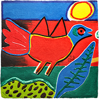 Original signed print de  : Red bird