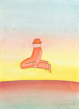 Original signed watercolour de  : Without title, Man and Horizon