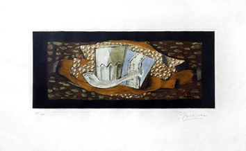 Signed etching de  : Still life with glass and pipe