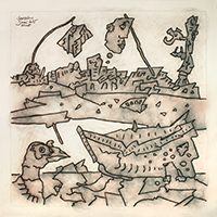 Signierte Tinte-Zeichnung de  : La barque échouée