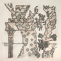 Signierte Tinte-Zeichnung de  : Le triomphe