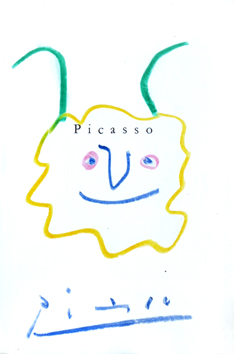 Original signed drawing de Picasso Pablo : Head of fauna