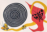 Lithographie originale signée de  : Butterflies and spiral