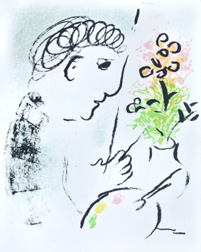 Original lithograph de Chagall Marc : Greetings card 1979 I
