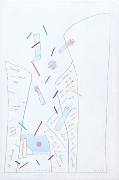 Original signed drawing de Folon Jean Michel : Un matin Apollinaire