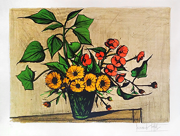 Original signed lithograph de  : Bouquet of marigolds
