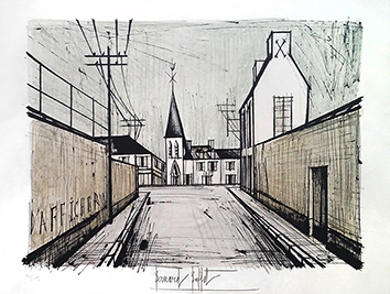 Original signed lithograph de Buffet Bernard : Church of the village