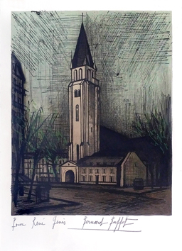 Original signed lithograph de  : Place Saint-Germain-des-Près