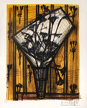 Original signed lithograph de Buffet Bernard : Flowers