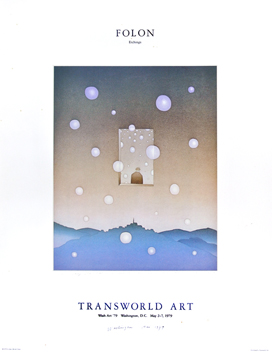 Affiche d'exposition offset de  : Folon Transworld Art
