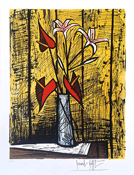 Original signed lithograph de  : Anthuriums and Lilies