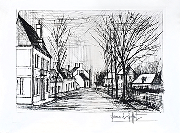 Original signed etching de Buffet Bernard : Allée à St Julien