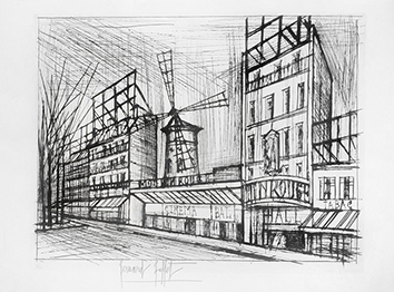 Original signed etching de  : Le Moulin rouge