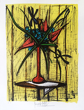 Original signed lithograph de Buffet Bernard : Anthuriums et Iris