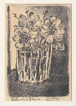 Original lithograph de  : Flowers in a vase