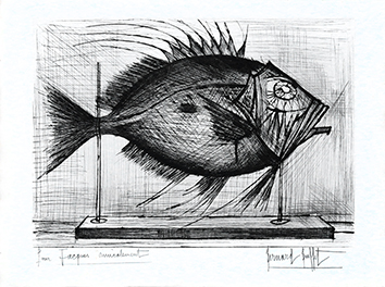 Original signed etching de  : Fish