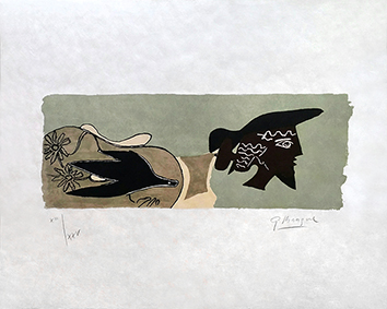 Original signed lithograph de Braque Georges : Cinq poèsies en hommage à Georges Braque