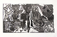 Original signed linocut de Scanreigh Jean-Marc : Une pure fiction