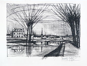 Original signed drypoint de Buffet Bernard : Canal to Soissons
