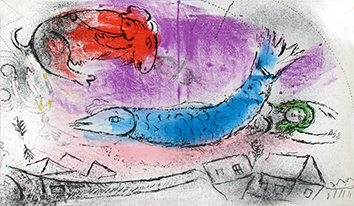 Original lithograph de Chagall Marc : The blue fish