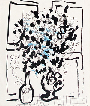 Original lithograph de  : Black and blue bunch