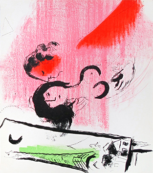 Original lithograph de Chagall Marc : The green Eiffel Tower