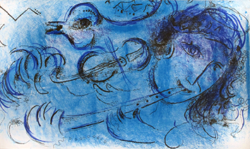Original lithograph de Chagall Marc : The player of flute