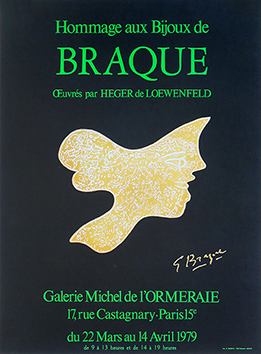 Lithograph poster de Braque Georges : Tribute in the jewels of Braque