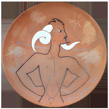 Céramique originale numérotée de  : Bouc aux cornes blanches