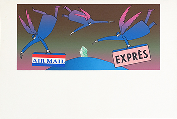 Serigrafia originale de Folon Jean Michel : Air Mail Exprès II