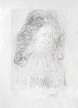 Signed drypoint de Dali Salvador : The portrait of La Fontaine