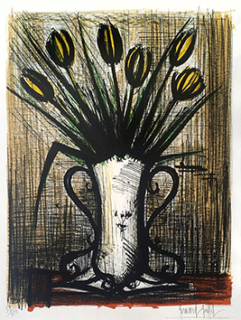 Original signed lithograph de  : The vase of yellow tulips