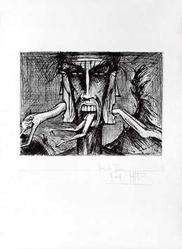 Original signed drypoint de Buffet Bernard : Lucifer