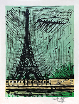 Original signed lithograph de  : Tour Eiffel
