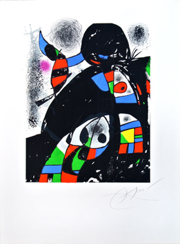 Original signed lithograph de Miro Joan : San Lazzaro and his friends