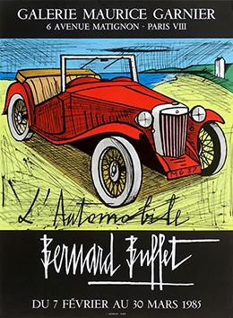Affiche Mourlot de  : L'automobile (M.G. 1937 rouge)