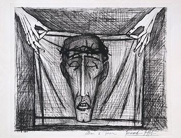 Original signed drypoint de Buffet Bernard : Sainte-Face