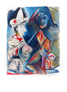 Signed lithograph de Picasso Pablo : The clown and the harlequin