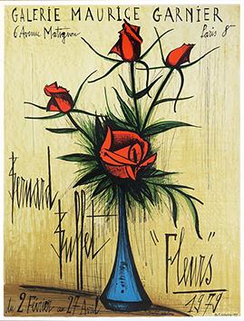 Affiche lithographie originale de  : Roses dans un vase bleu