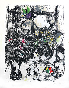 Original signed lithograph de  : Still life with bunch