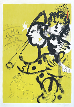 Original signed lithograph de Chagall Marc : Le Clown musicien
