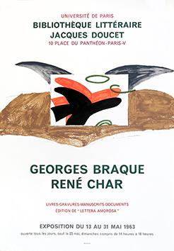 Affiche d'exposition Mourlot de  : Georges Braque René Char