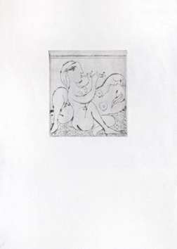 Original drypoint de Picasso Pablo : Sleeper and flutist