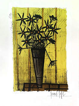 Original signed lithograph de  : Bouquet of flowers