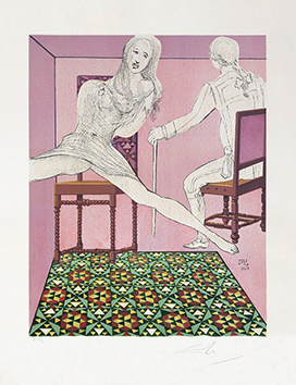 Signed lithograph de  : Marianne and the chevalier