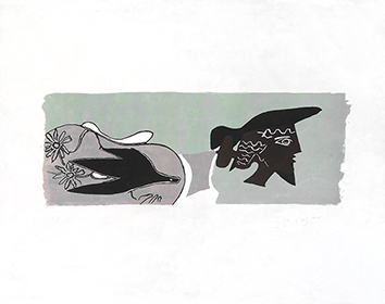 Original signed lithograph de Braque Georges : Le poète
