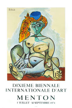 Lithograph poster de Picasso Pablo : Nude woman with Turkish bonnet, poster