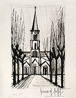 Original signed etching de  : Eglise