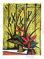 Original signed lithograph de Buffet Bernard : Iris et bouquet rouge