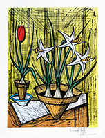 Signierte Originallithographie de  : Trois jonquilles et une tulipe rouge
